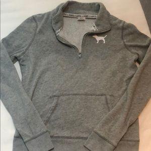 Cozy grey VS pink quarter zip